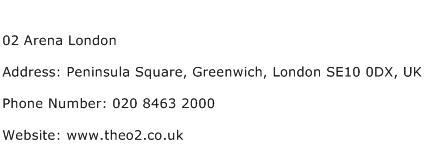 02 Arena London Address Contact Number