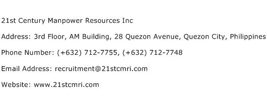 21st Century Manpower Resources Inc Address Contact Number