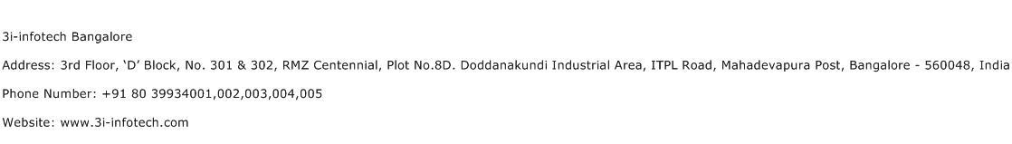 3i infotech Bangalore Address Contact Number