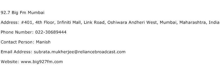 92.7 Big Fm Mumbai Address Contact Number