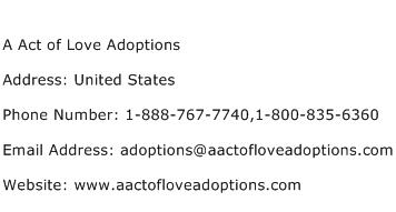 A Act of Love Adoptions Address Contact Number