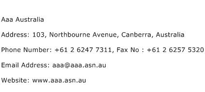 Aaa Australia Address Contact Number