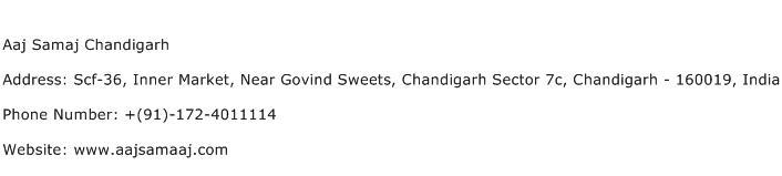 Aaj Samaj Chandigarh Address Contact Number