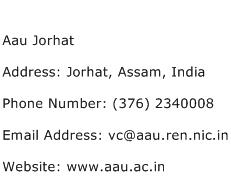 Aau Jorhat Address Contact Number