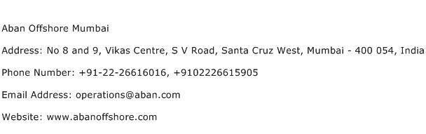Aban Offshore Mumbai Address Contact Number
