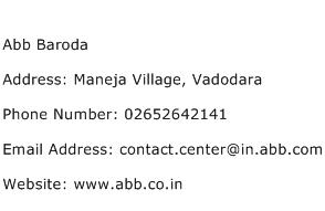 Abb Baroda Address Contact Number