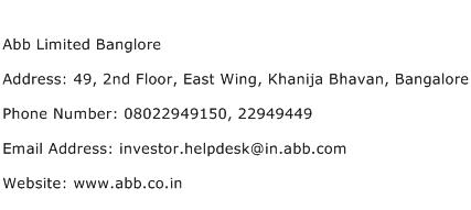 Abb Limited Banglore Address Contact Number