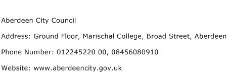 Aberdeen City Council Address Contact Number
