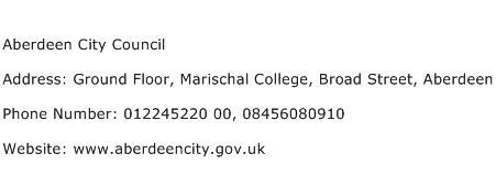 Aberdeen City Council Address Contact Number
