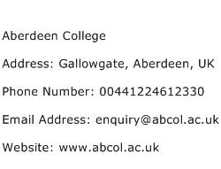 Aberdeen College Address Contact Number
