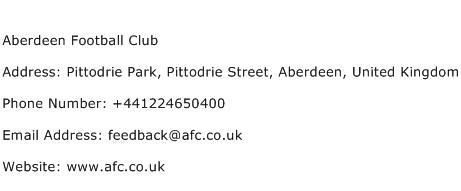 Aberdeen Football Club Address Contact Number
