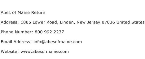 Abes of Maine Return Address Contact Number
