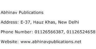 Abhinav Publications Address Contact Number