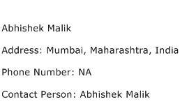 Abhishek Malik Address Contact Number