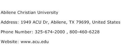 Abilene Christian University Address Contact Number