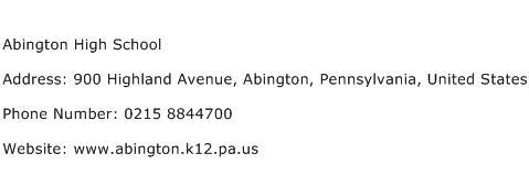 Abington High School Address Contact Number