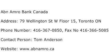 Abn Amro Bank Canada Address Contact Number