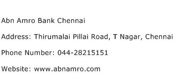 Abn Amro Bank Chennai Address Contact Number