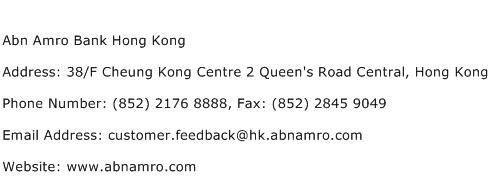 Abn Amro Bank Hong Kong Address Contact Number