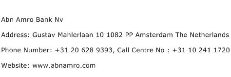 Abn Amro Bank Nv Address Contact Number