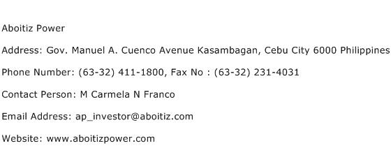 Aboitiz Power Address Contact Number