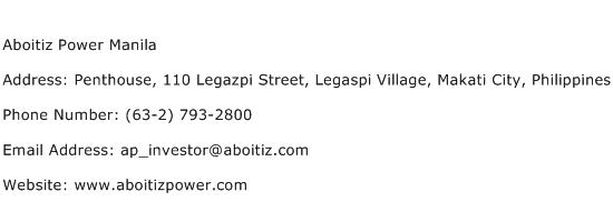 Aboitiz Power Manila Address Contact Number
