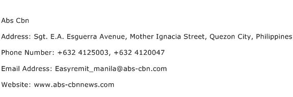 Abs Cbn Address Contact Number