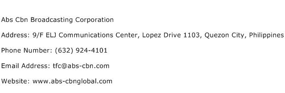 Abs Cbn Broadcasting Corporation Address Contact Number
