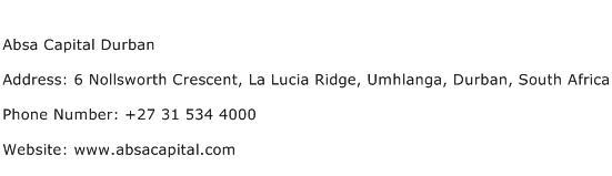 Absa Capital Durban Address Contact Number