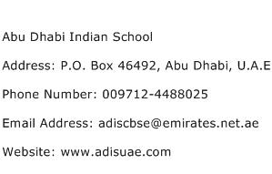 Abu Dhabi Indian School Address Contact Number