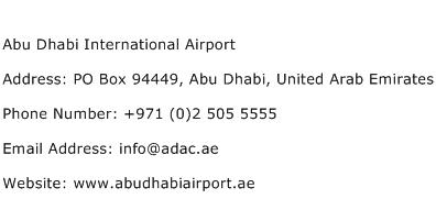 Abu Dhabi International Airport Address Contact Number