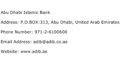 Abu Dhabi Islamic Bank Address Contact Number