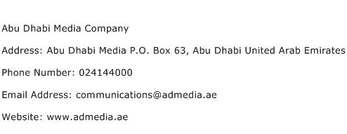 Abu Dhabi Media Company Address Contact Number