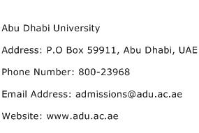 Abu Dhabi University Address Contact Number