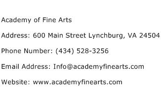 Academy of Fine Arts Address Contact Number