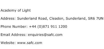 Academy of Light Address Contact Number