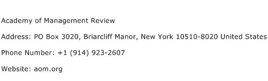 Academy of Management Review Address Contact Number