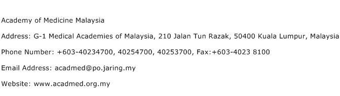 Academy of Medicine Malaysia Address Contact Number