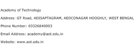 Academy of Technology Address Contact Number
