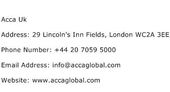 Acca Uk Address Contact Number