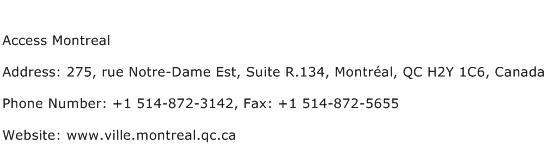 Access Montreal Address Contact Number