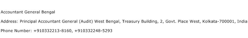 Accountant General Bengal Address Contact Number