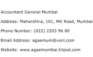 Accountant General Mumbai Address Contact Number