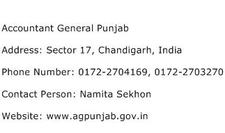 Accountant General Punjab Address Contact Number