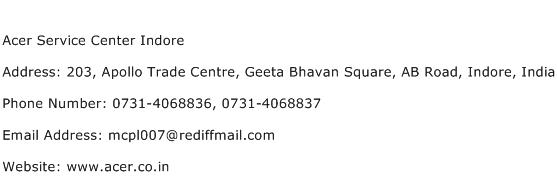 Acer Service Center Indore Address Contact Number