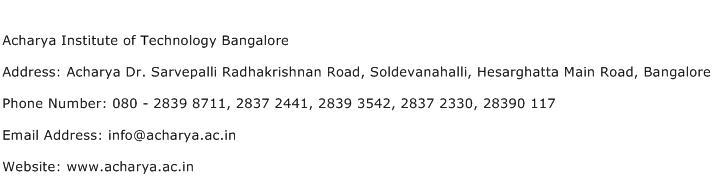 Acharya Institute of Technology Bangalore Address Contact Number