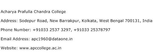 Acharya Prafulla Chandra College Address Contact Number