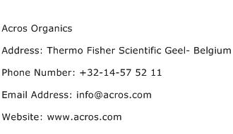 Acros Organics Address Contact Number