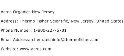 Acros Organics New Jersey Address Contact Number