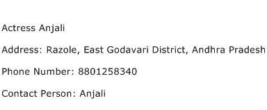 Actress Anjali Address Contact Number